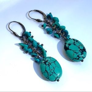 Natural Turquoise Dangle Silver Earrings